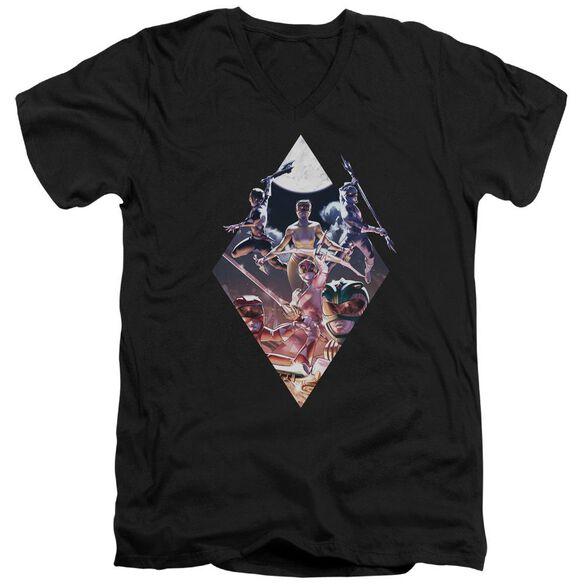 Power Rangers Sdcc Ranger Diamond 2 Short Sleeve Adult V Neck T-Shirt