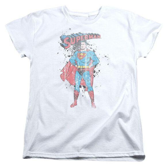 Superman Vintage Ink Splatter Short Sleeve Womens Tee T-Shirt