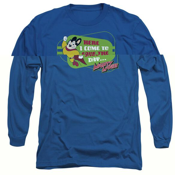 MIGHTY MOUSE HERE I COME - L/S ADULT 18/1 - ROYAL BLUE T-Shirt