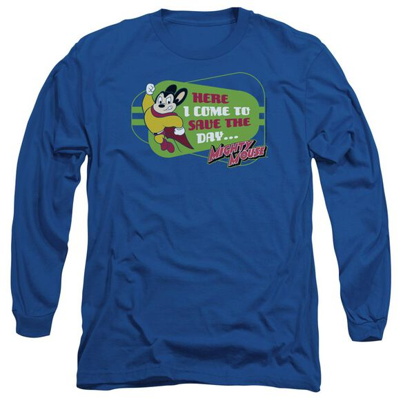 Mighty Mouse Here I Come Long Sleeve Adult Royal T-Shirt