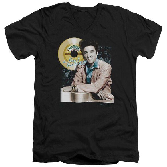 Elvis Gold Record Short Sleeve Adult V Neck T-Shirt