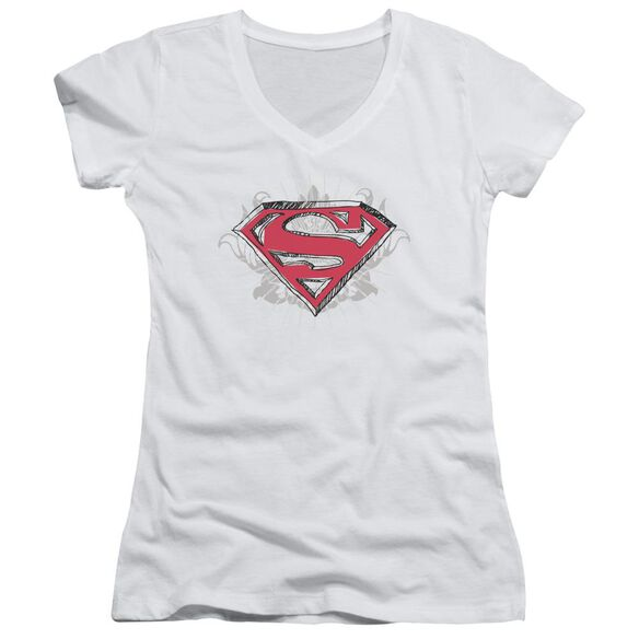 Superman Hastily Drawn Shield Junior V Neck T-Shirt