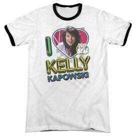 Saved By The Bell I Love Kelly Adult Ringer White Black