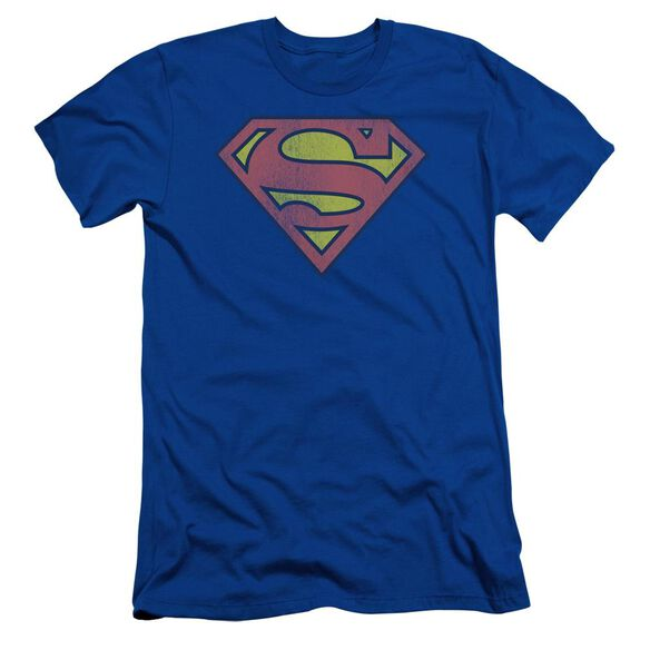Dc Retro Supes Logo Distressed Short Sleeve Adult Royal T-Shirt