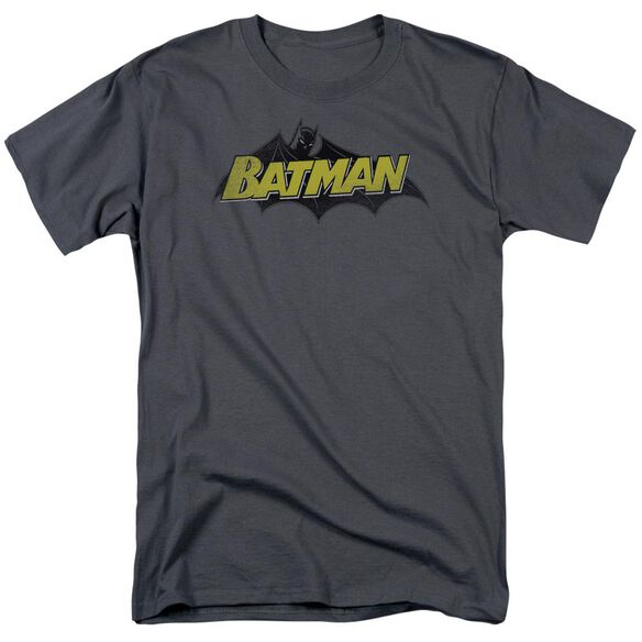 Batman Classic Comic Logo Short Sleeve Adult Charcoal T-Shirt