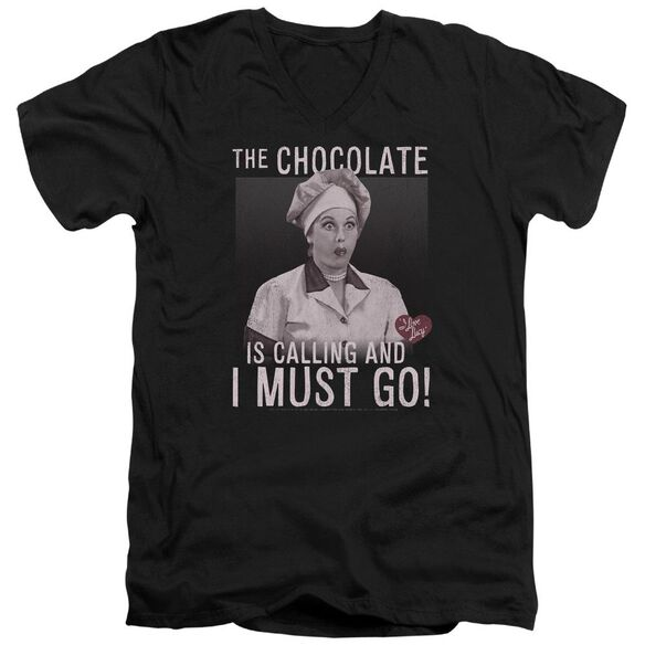I Love Lucy Chocolate Calling Short Sleeve Adult V Neck T-Shirt