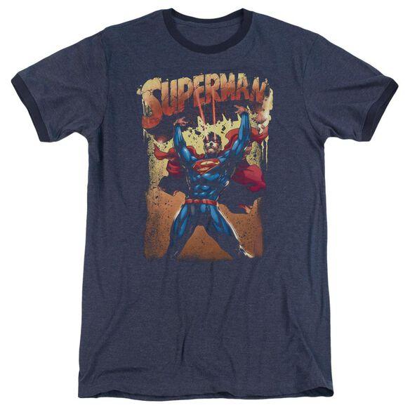Superman Lift Up Adult Heather Ringer Navy