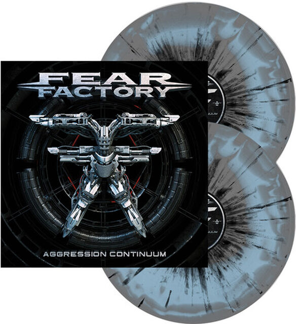 Fear Factory - Aggression Continuum (Grey & Light Blue Swirl w/ Black Splatter)