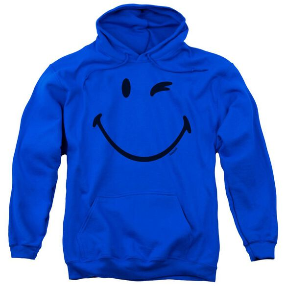 Smiley World Big Wink Adult Pull Over Hoodie Royal