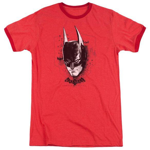 Batman Arkham Knight Ak Head Adult Heather Ringer Red