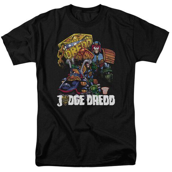 Judge Dredd Bike And Badge Short Sleeve Adult T-Shirt