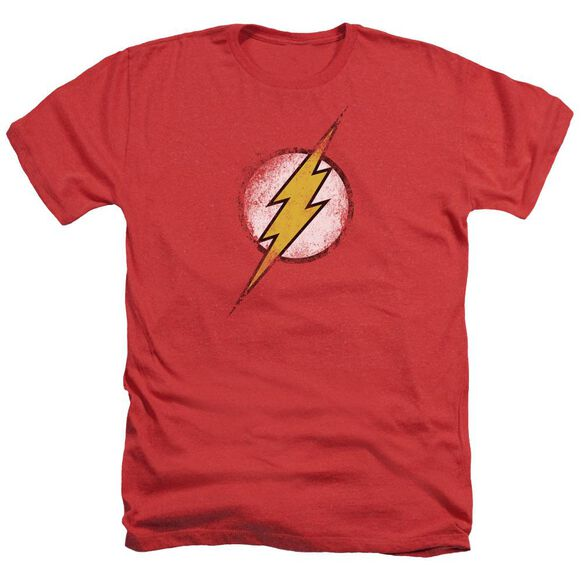 Jla Destroyed Flash Logo Adult Heather