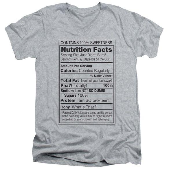 100% Sweetness Short Sleeve Adult V Neck Athletic T-Shirt