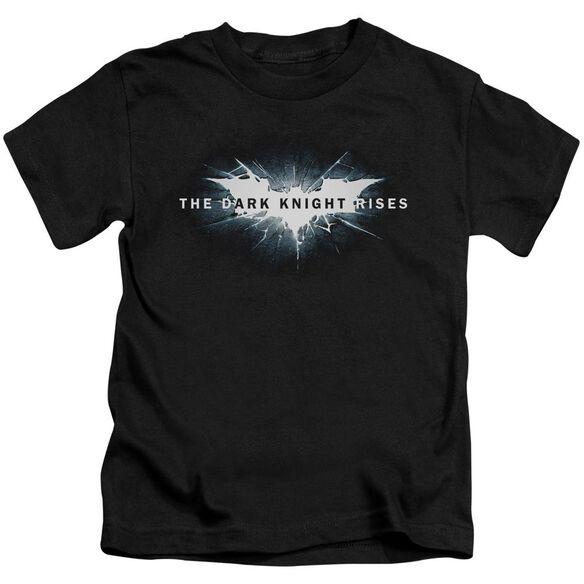 Dark Knight Rises Cracked Bat Logo Short Sleeve Juvenile Black T-Shirt