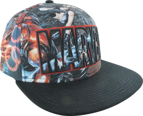 Avengers All Over Marvel Logo Snapback Hat