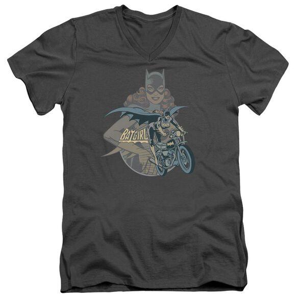 Dc Batgirl Biker Short Sleeve Adult V Neck T-Shirt