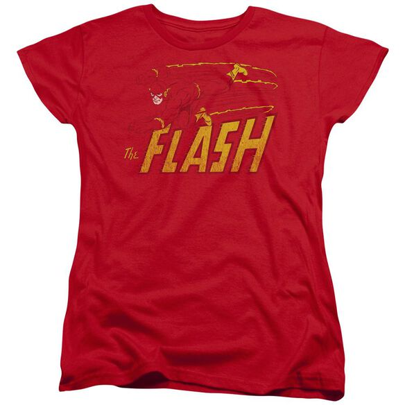 Dc Flash Flash Speed Distressed Short Sleeve Womens Tee T-Shirt