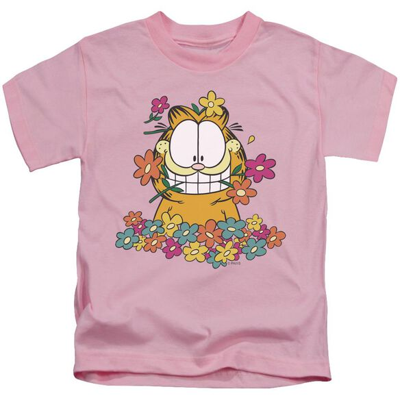 Garfield In The Garden Short Sleeve Juvenile Pink T-Shirt