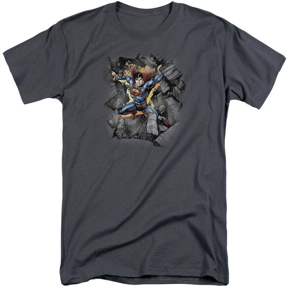 Superman Break On Through Short Sleeve Adult Tall T-Shirt
