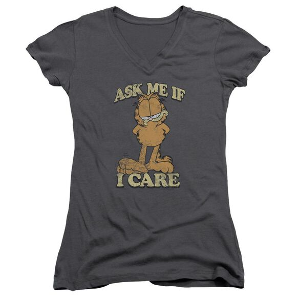 Garfield Ask Me - Junior V-neck - Charcoal