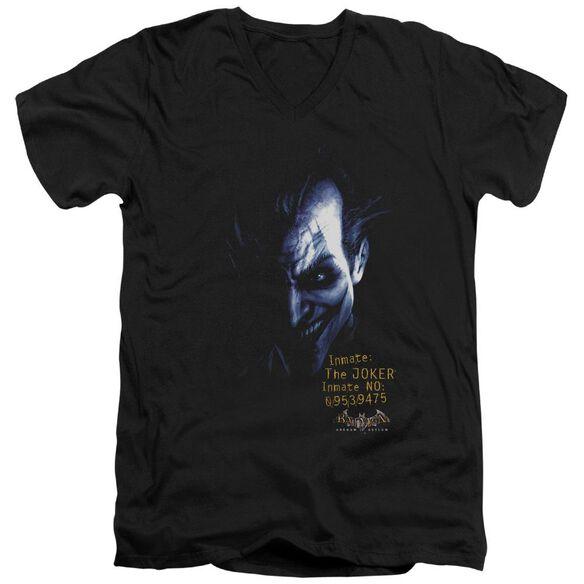 BATMAN AA ARKHAM JOKER - S/S ADULT V-NECK - BLACK T-Shirt