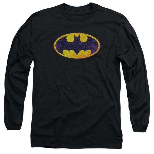 Batman Bm Neon Distress Logo Long Sleeve Adult T-Shirt