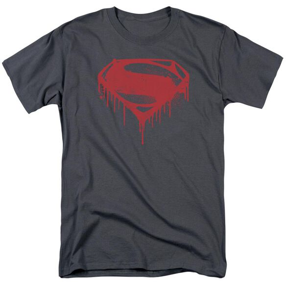 Batman V Superman Splattered Short Sleeve Adult Charcoal T-Shirt