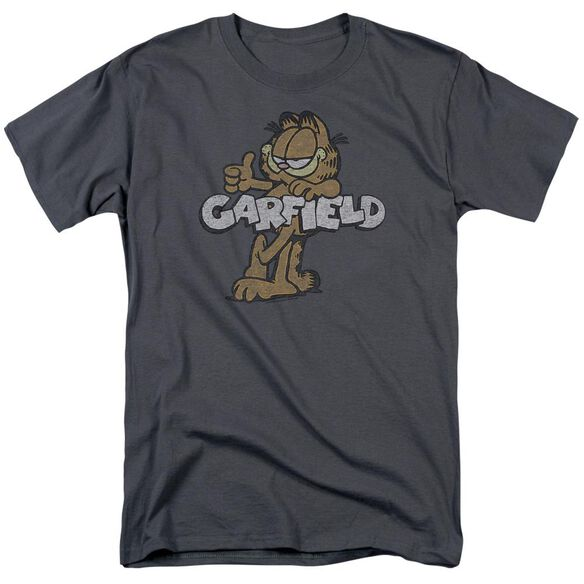 Garfield Retro Garf Short Sleeve Adult Charcoal T-Shirt