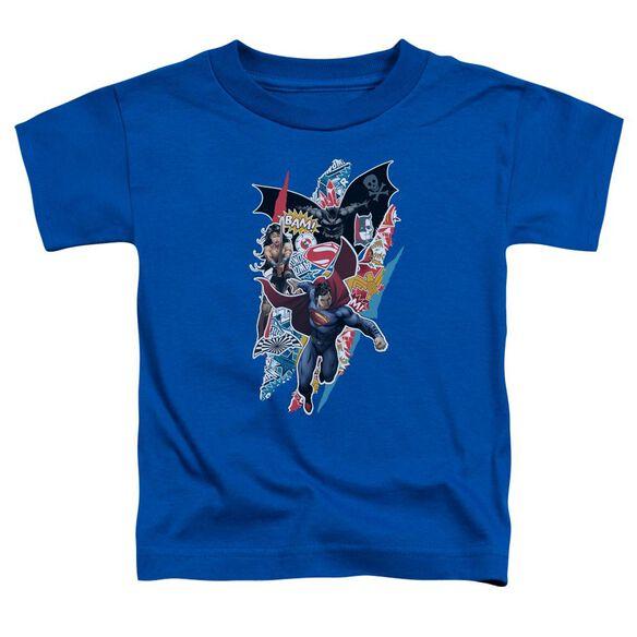 Batman V Superman Ripped Trio Short Sleeve Toddler Tee Royal Blue T-Shirt