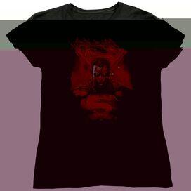 SUPERMAN MAN ON FIRE - S/S WOMENS TEE - BLACK T-Shirt