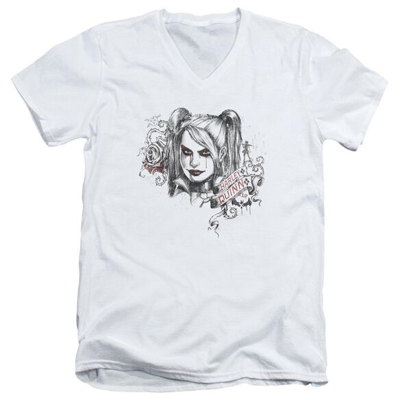 Batman Arkham Knight Sketchy Girl Short Sleeve Adult V Neck T-Shirt