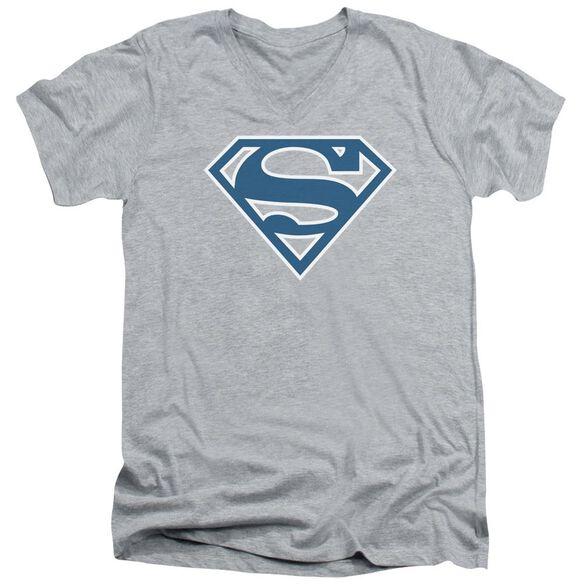 SUPERMAN BLUE & WHITE SHIELD - S/S ADULT V-NECK - ATHLETIC HEATHER T-Shirt