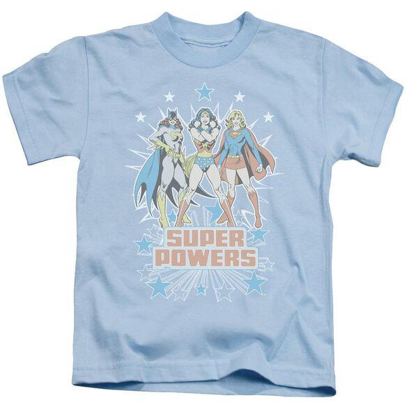 Dc Super Powers X3 Short Sleeve Juvenile Light Blue T-Shirt
