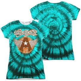 Aerosmith Tie Dye (Front Back Print) Short Sleeve Junior Poly Crew T-Shirt