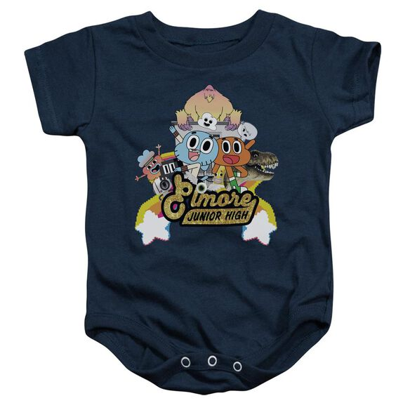 Amazing World Of Gumball Elmore Junior High Infant Snapsuit Navy