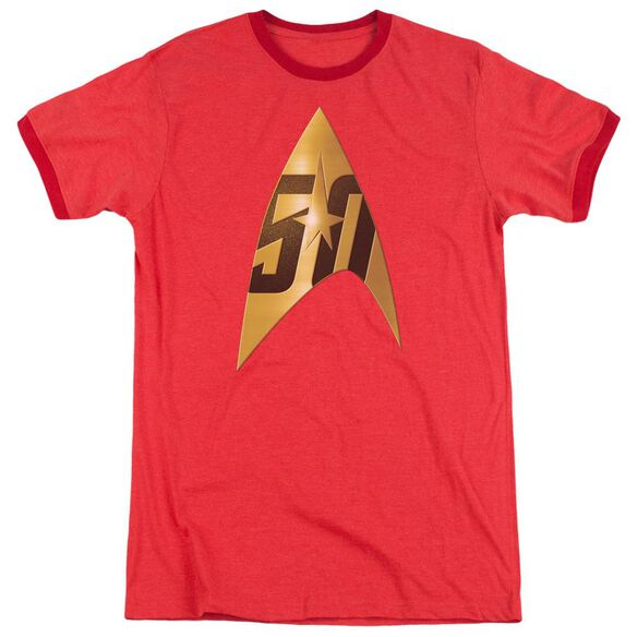 Star Trek 50 Th Anniversary Delta Adult Heather Ringer Red