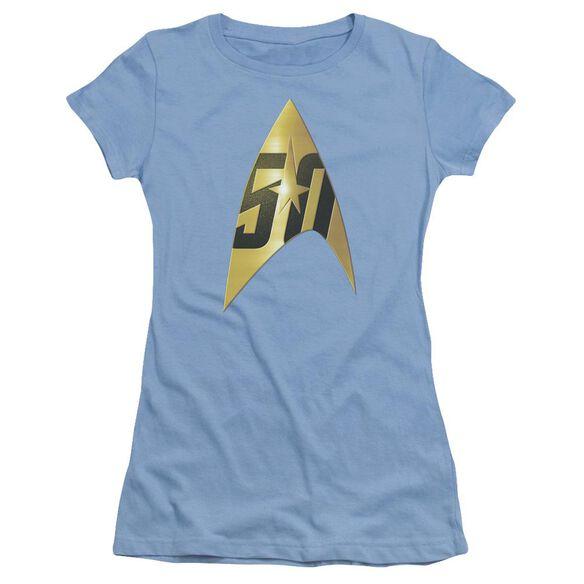 Star Trek 50 Th Anniversary Delta Short Sleeve Junior Sheer Carolina T-Shirt