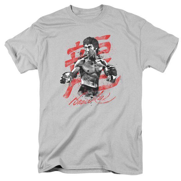 Bruce Lee Ink Splatter Short Sleeve Adult Silver T-Shirt