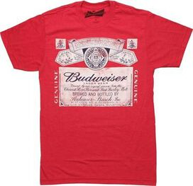 Budweiser Black and White Label Heather Red T-Shirt Sheer