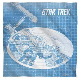 Star Trek Enterprise Blueprint Bandana White