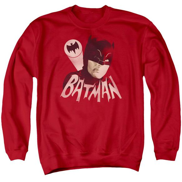 Batman Classic TV Bat Signal - Adult Crewneck Sweatshirt - Red