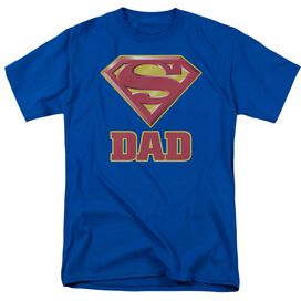 Superman Super Dad Short Sleeve Adult Royal T-Shirt