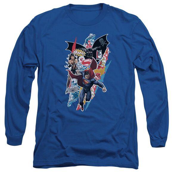Batman V Superman Ripped Trio Long Sleeve Adult Royal T-Shirt