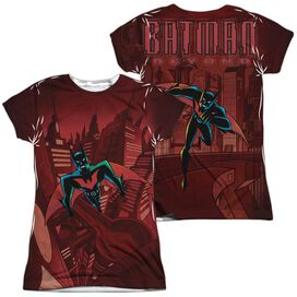 Batman Beyond Red Gotham (Front Back Print) Short Sleeve Junior Poly Crew T-Shirt