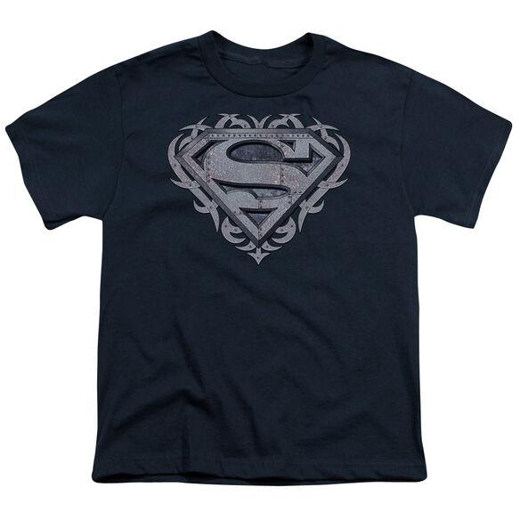 SUPERMAN TRIBAL STEEL SHIELD - S/S YOUTH 18/1 - NAVY T-Shirt