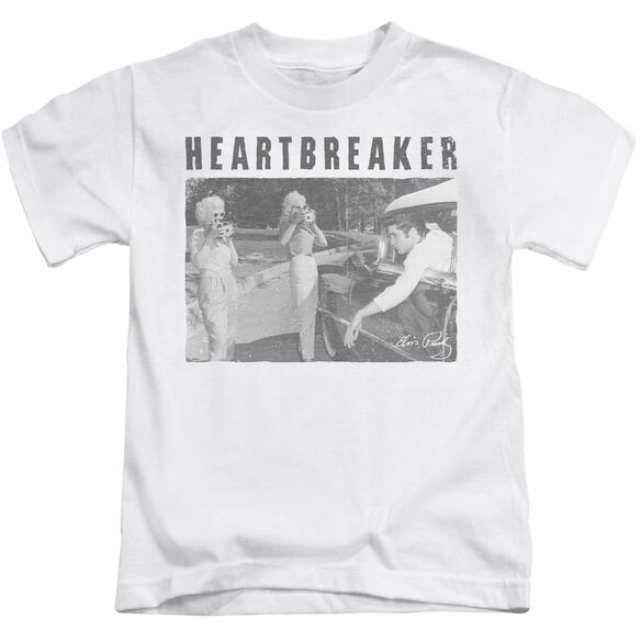 Elvis Heartbreaker Short Sleeve Juvenile White T-Shirt