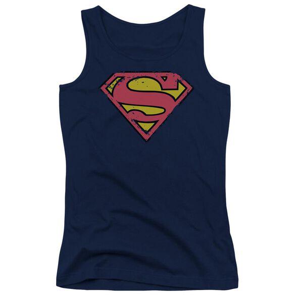 Superman Distressed Shield Juniors Tank Top