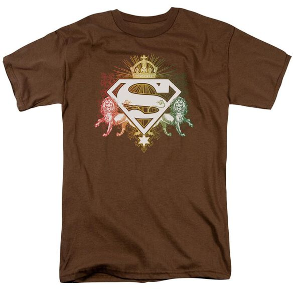 Superman Ornate Lion Shield Short Sleeve Adult Coffee T-Shirt
