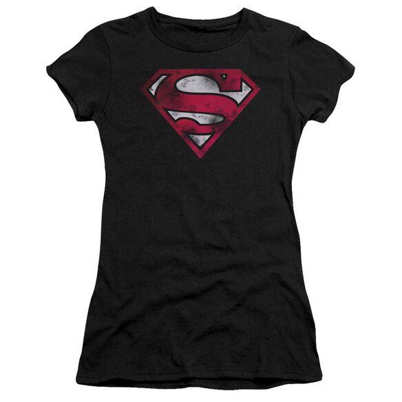 Superman War Torn Shield Premium Bella Junior Sheer Jersey