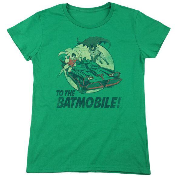 Batman Classic Tv To The Batmobile Short Sleeve Womens Tee Kelly T-Shirt